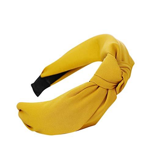 YWLINK Damen Mode Haar Kopfband Mode-Knoten-Haarband Einfache SüßE MäDchen Einfach Volltonfarbe Elegant Sport Breit Haar-Stirnband(Gelb,)