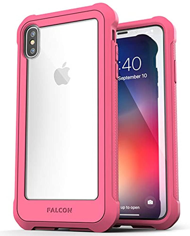 Encased Heavy Duty iPhone Xs MAX Case Pink (w/Tempered Glass Screen Protector) Military Grade Bumper w/Protective Clear Back (Falcon Pink)