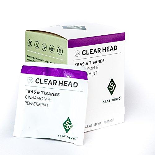 Sage Tonic Clear Head Tea - Cinnamon & Peppermint - Herbal, Helps Relax, Naturally Caffeine Free, Gluten Free, GMO Free, All Natural 12 Tea Bags/box