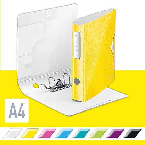 Leitz Qualitäts-Ordner 180° Active WOW, A4, Gelb, 65 mm Rückenbreite, Gummibandverschluss, Leichtes Polyfoam, WOW, 11070016