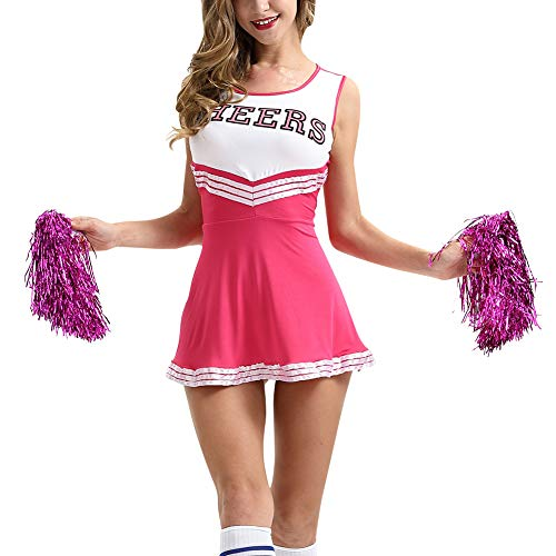 uirend Kostüme Erwachsene Bekleidung Röcke - Cheerleader Uniformen Damen Mädchen Kostüm Pompoms Karneval Halloween Outfit Cheerleading Bekleidung