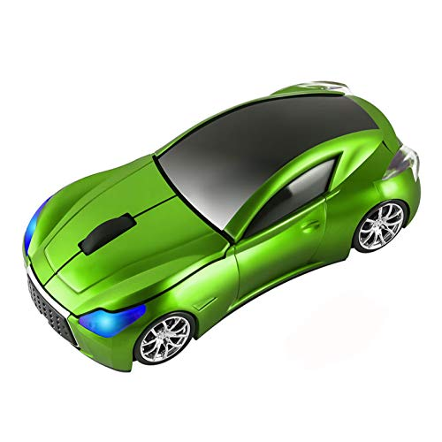CHUYI Cool Sports 3D Car Shaped Wireless Optical Mouse 1600DPI 3 Button Ergonomic Office Mice with USB Receiver for Travel Business School Home Gift (Green)