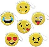 BETOY 6 pcs Mini Smiley portamonete per bambini,Emoji portamonete ,cuffie, cerniera pacchetto di archiviazione cavo dati, regalo per ragazzo e ragazze