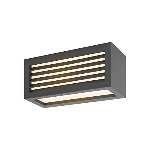 SLV Wandlampe BOX-L anthrazit | effektvolle Außenbeleuchtung von Hauseingang, Wänden, Wegen, Terrassen, Fassaden, Treppen | LED Wandleuchte, Aussen-Leuchte LED, Garten-Lampe | LED Inside, 19W, EEK A++