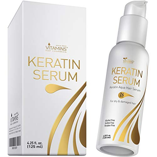 Vitamins Keratin Protein Hair Serum - Weightless Anti Frizz Treatment Softens and Repairs Frizzy Dry Damaged Hair - Thermal Heat Protectant with Shine and Gloss