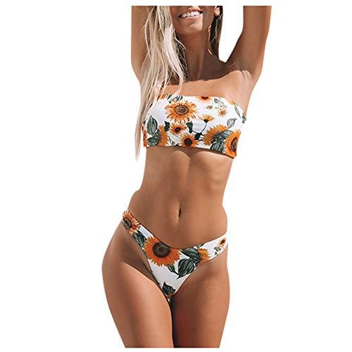 Aiserkly Bandeau Bikini Sets, Damen Drucken Zweiteilige Badeanzug Push-Up Padded Bademode Reizvoller Badeanzüge Bikini Bottom Strandkleidung Strandmode Weiß M