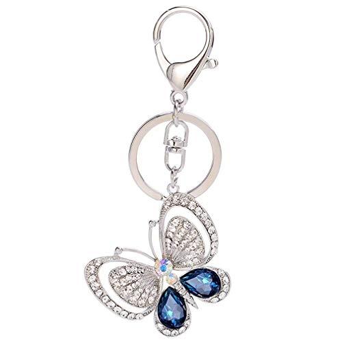 Butterfly Keychain for Women,Bling Crystal Animal Key Keychains Car Key Ring Handbag Pendant Keyring-Light Blue Butterfly