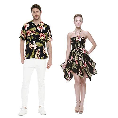 Couple Matching Hawaiian Luau Aloha Shirt Gypsy Dress in Black Rafelsia L