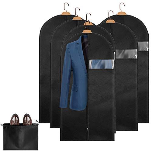 Kleidersäcke Uktunu Atmungsaktive Anzugtasche für Reisen 6 Stücke Kleiderhülle Anzughülle - Hochwertige Kleiderhülle für Anzug und Kleid Vor Staub Motten Schäden 6x120x60cm inkl. Schuhbeutel
