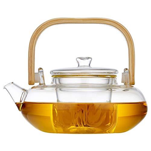 ROEWP Teteras teapot 800 ml / 27,1 oz Cristal Tetera con Infusor extraíble y Resistente al Calor de bambú Mango quemadores Segura Claro Tetera Infuser y Hojas Sueltas de la Tetera con infusor