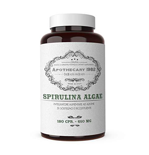 Dulàc - SPIRULINA ALGAE - 180 cpr - Alga Spirulina - Tonificante e antinfiammatorio - 500 mg - 100% Made in Italy - Notificato al Ministero della Salute Italiano - Apothecary 1982
