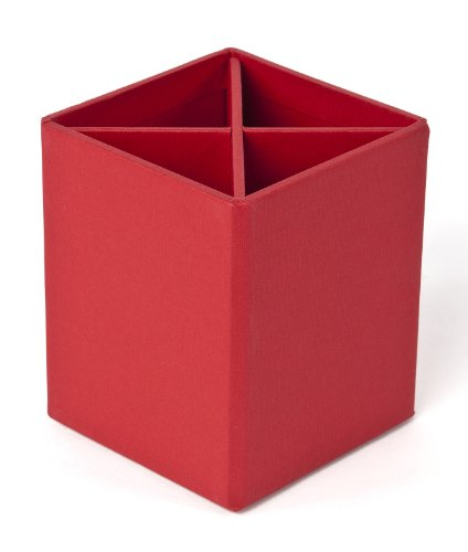 Bigso Penny Fiberboard 4-Divider Desktop Pencil Cup, 3.9 x 3.3 x 3.3 in, Red
