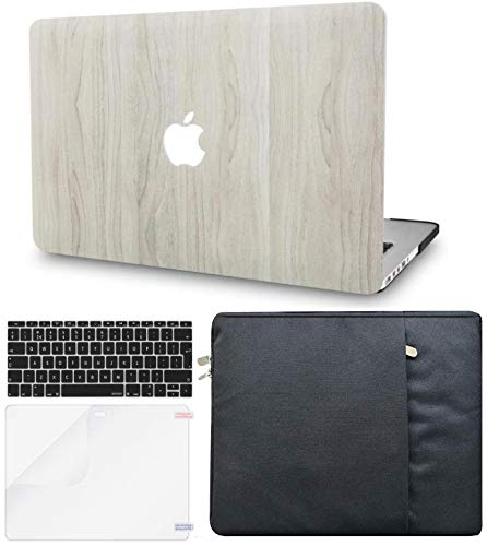 KECC Laptop Case for MacBook Air 13' Retina (2020/2019/2018, Touch ID) w/Keyboard Cover + Sleeve + Screen Protector (4 in 1 Bundle) Plastic Hard Shell Case A1932 (Pine Wood 2)