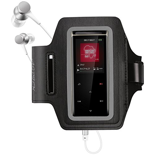 AGPTEK MP3 Player Armband,Waterproof MP3 Holder for A02, A20, A01, C5, M6, M16, A05, X15, X05, C3 with Two Holes & Reflective Strip for Night Safety, Adjustable Hands-Free for Running Jogging Sport