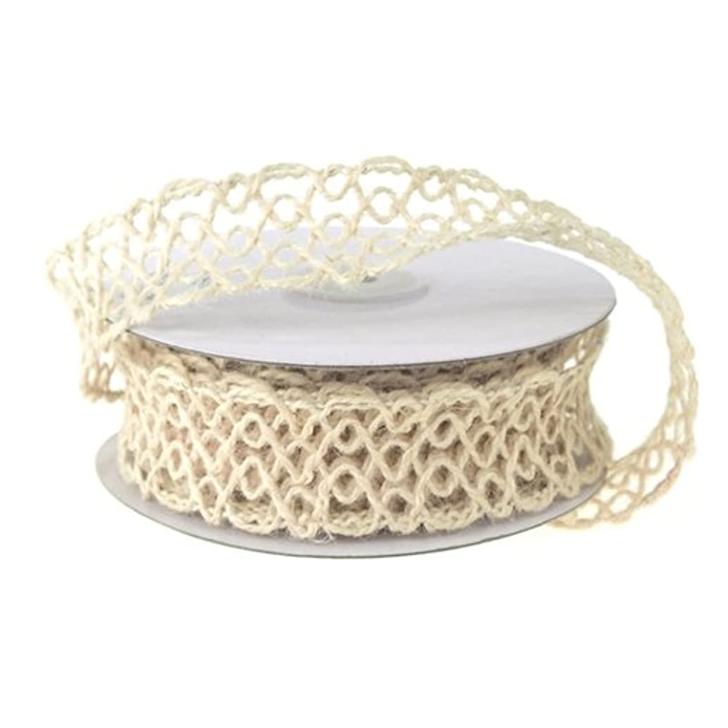 Homeford Firefly Imports Open Weave Mesh Jute Wire Ribbon, 1-Inch, 10 Yards, Ivory,