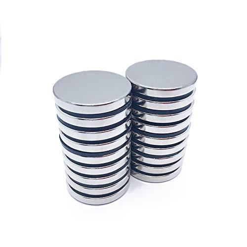 P&D - 20 potenti magneti al neodimio N35 NI, a forma di disco, dimensioni: 15 x 3 mm (D x A), magneti per lavagna, frigorifero, ecc.