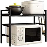 Bäckerregal Verstellbar,Mikrowellen-Regal mit 2 Etagen Erweiterbar Mikrowellen Ofen Regal Ständer mit 3 Haken für Küche und Arbeitsplatte Küchenregallagerung