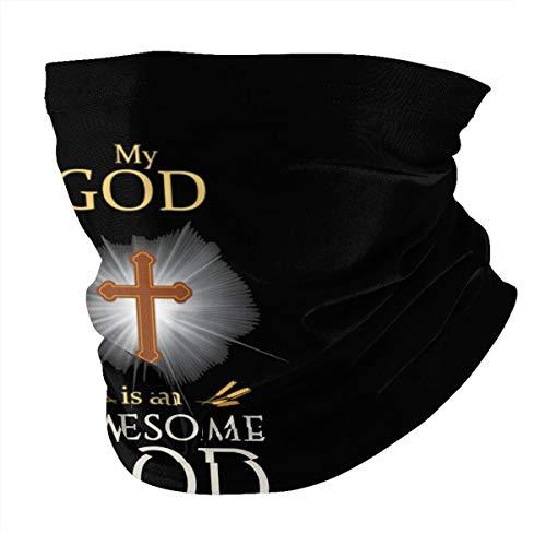 My God is an Awesome God Christian Religious Unisex Neck Gaiter Warmer Windproof Sports Bandanas Face Mask Black