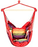 EverKing Hanging Rope Hammock Chair Porch Swing Seat, Large Hammock Net Chair Swing, Cotton Rope...