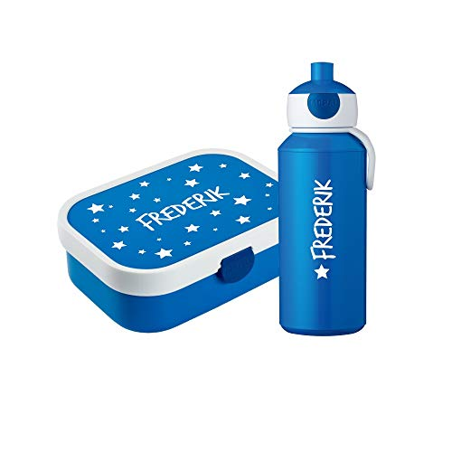 4you Design Set ✶Brotdose & Trinkflasche Punkte, Sterne oder Bambi + Name✶ 6 Farben ✶Mepal Campus + Bento Box & Gabel ✶Schule ✶Kind (Sterne Blau)