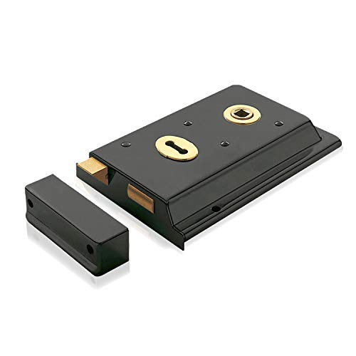 XFORT Traditional 6' x 4' Rimlock, Surface Mounted Rim Sashlock with in-Built Latch and Key Operated Deadbolt, Ideal for Timber Doors or Gates on Outbuildings (Black).