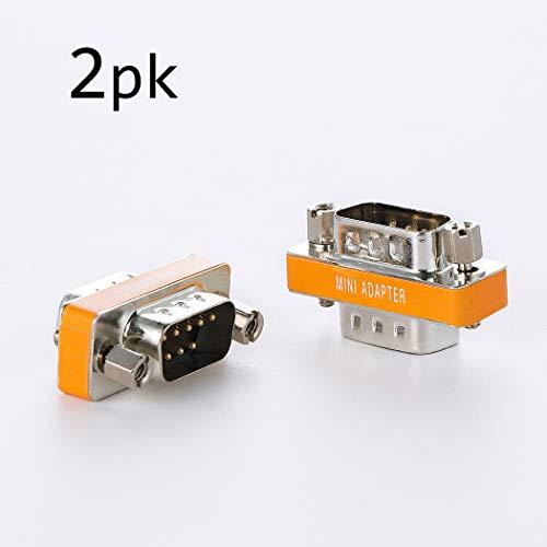DB9 null Modem Stecker auf Stecker Slimline Daten Transfer Serial Port Adapter 2er Set