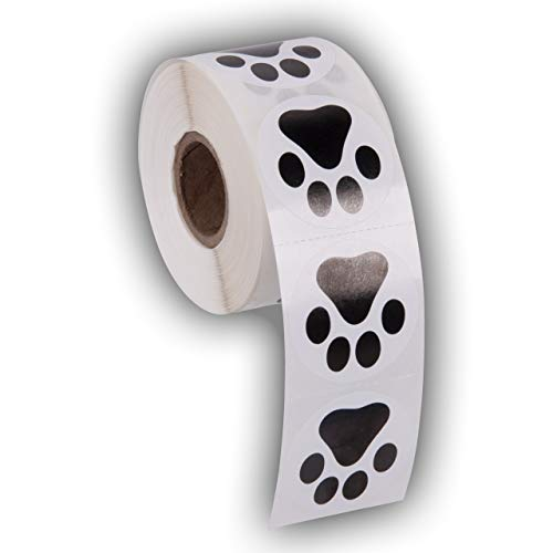 Paw Prints Animal Stickers- 500 1.5' Labels, Dog Paw Prints for Kids, Parties, Vets, Kennels, and Mailing. Made in The USA by Kenco (Black Paws)