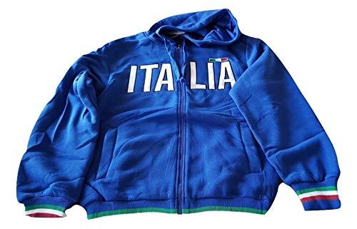 Sfiziosa Felpa Italia Colore Blu con Cappuccio Apertura a Zip Taglie M-L-XL (L)