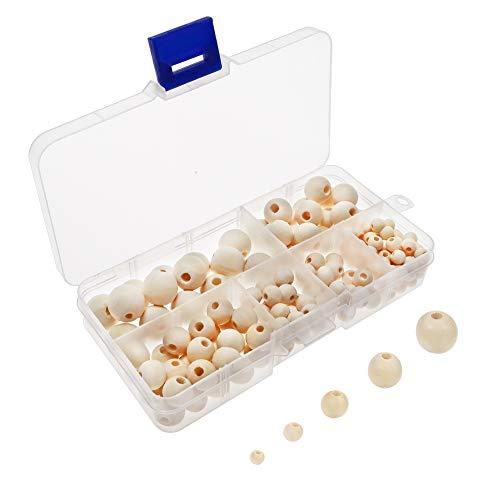 TOAOB 160 Stück 6 bis 14mm Holzperlen Runde Natürliche gemischte Größe Perlen für Schmuckherstellung