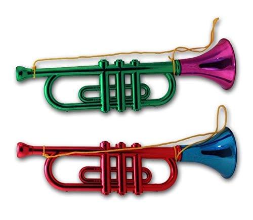 Schnäppchenladen24 2 X Kinder Trompete Spielzeug Tröte grün-pink / rot-blau Party Fanfare Fasching