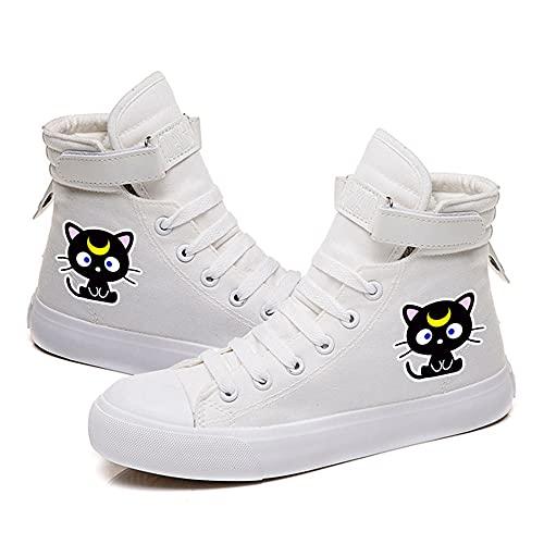 NXMRN Sailor Moon Zapatos De Lona Negros Impresos para Hombre Todos Los Zapatos Vulcanizados Zapatos De Skate Casuales para Mujer Zapatillas De Deporte-43