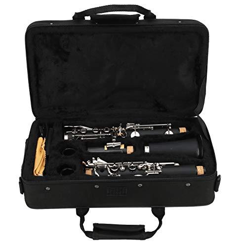 Clarinete para principiantes, con paño de limpieza Clarinete para llave en Sib, Madera fácil de almacenar Estudiantes para principiantes Niños Entusiastas de la música(black)