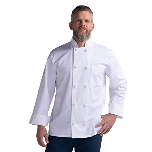 Chefwear Chef Jacket Long Sleeve Primary Cloth Knot Button (White, XL)