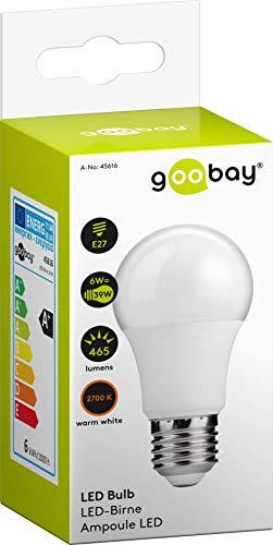 goobay–Bombilla LED, 6W;–Bombilla LED, 6W–Casquillo E27, Equivalente a 39W, de Color Blanco cálido, no Regulable
