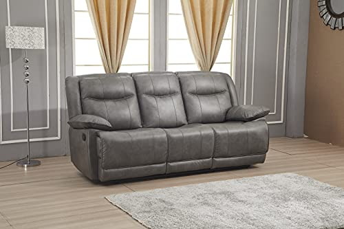 Betsy Furniture Bonded Leather Reclining Sofa Couch Set Living Room Set 8006 (Grey, Sofa)