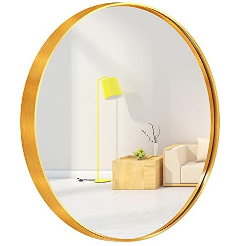 Espejo circular de pared redondo para entradas, baños, salas de estar, espejo redondo de aleación de metal ligero para pared (oro, 50 cm)