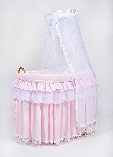 Cesta de mimbre, moisés «Titania Pink» rosa, la cuna, cuna de MJmark