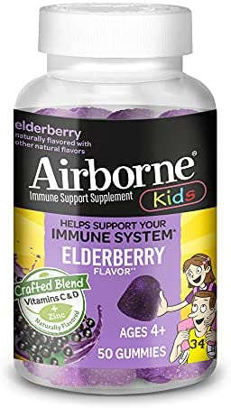 Airborne Elderberry + Vitamins and Zinc Gummies (60 count in a bottle), Gluten-Free Immune Support Supplement With Vitamins D and E