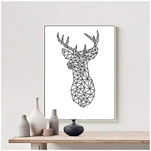 YANGYANGFBH Cabeza de Ciervo Geométrico Origami Lienzo Pinturas Animal Poster Imagen de Arte de Pared para habitación de niños Decoración para el hogar-60x80cm Sin Marco