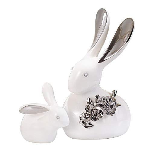 LPQA Statue e Statuette Creativo Bianco Argento Ceramica Statua di Coniglio Decorazioni per la casa Artigianato Decorazione della Stanza Figurine di Animali in Porcellana Decorazione di Nozze Regalo