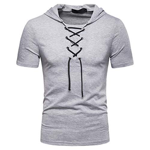 Deelin heren t-shirt voor de zomer, modieus, solide kleur, slim fit met capuchon, sport-T-shirt, casual, voor, borst, omslag, korte mouwen, top blouse
