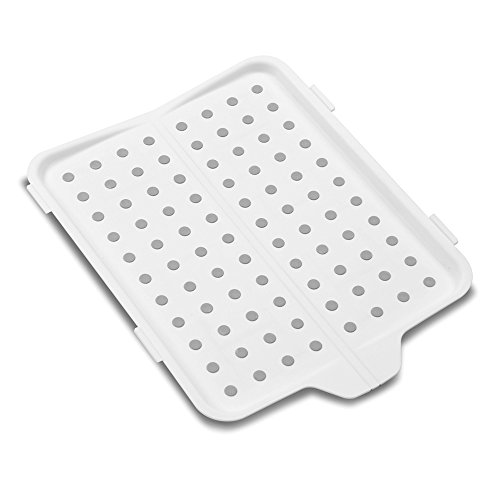 madesmart Fold-Up Drain Board - White | SINKWARE COLLECTION | Fold-Away for Easy Storage | Use for Dish Drying or to Catch Food Prep | Non-slip Base | BPA-Free
