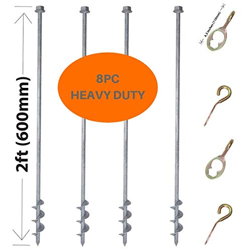 GROUNDGRABBA Ground Anchor Screw Kit - 4X Hexhooks & 4X 2 Ft Ground Anchors Heavy Duty for High Winds | Ground Anchor Kit for Swing Sets | Sand Screw Anchor for Pop-Up Canopy, Tents and More