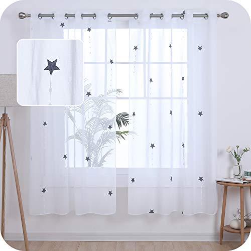 UMI. by Amazon 2 Stück Ösenvorhang Transparent Gardinen Wohnzimmer Voile Vorhang Stern Stickerei 180x140 cm Grau