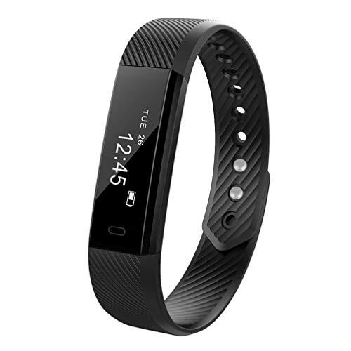 ID115 Smart Armband Hartslagmeter Fitness Tracker Stappenteller Zwart