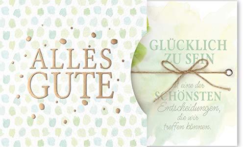 Karte mit Spruch - Geburtstagskarte - Hochzeitskarte - Karte für jeden Anlass - inkl Einsteckkarte mit Band - 15,0 x 15,0 cm - inkl. Umschlag - Motiv: Alles Gute