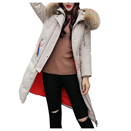 SHANGYI winterjas voor dames, kunstleer, warm, met capuchon, dik, warm, slank en lang