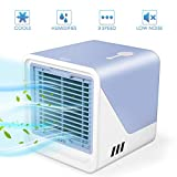 Air Cooler, Mini Portable Air Conditioner Fan Noiseless Evaporative Air Humidifier, Personal Space Air Conditioner, Mini Cooler,3 Gear Speed, LED Night, Office Cooler Humidifier & Purifier