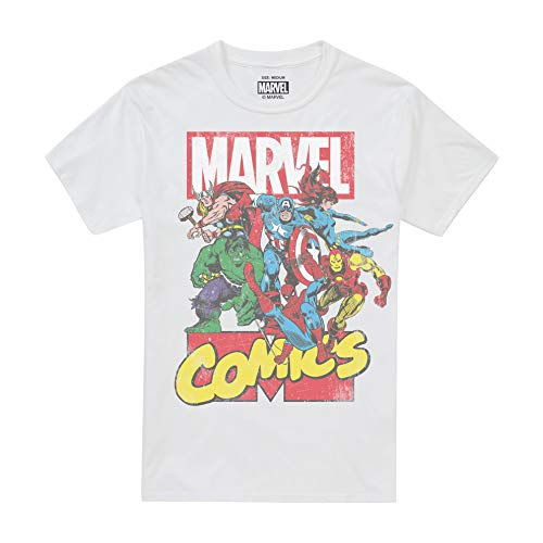 Marvel Call out Camiseta, Blanco (White White), M para Hombre