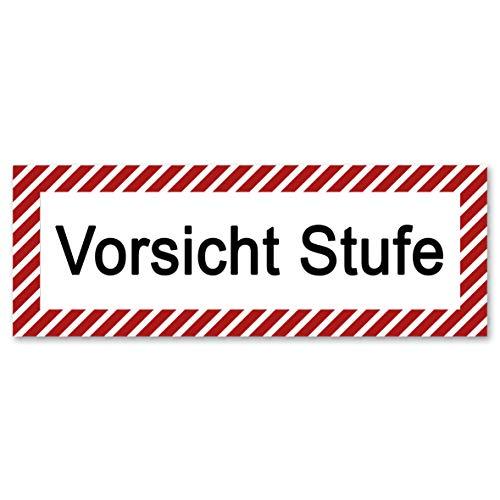 5 Stück Vorsicht Stufe Aufkleber 21 x 7,2 cm mit UV Schutz Gebotszeichen Warnzeichen für Außen-und Innenbereich